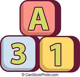 Bright colored bricks icon, cartoon style