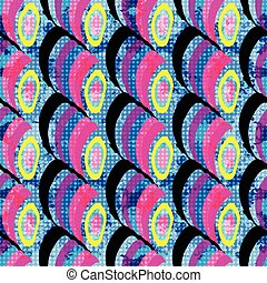 Bright colored circles on a blue background. Seamless geometric pattern.