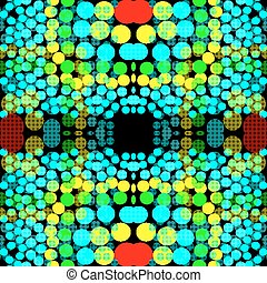 Bright colored circles on a dark background geometric background