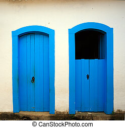 bright colored Door - bright blue wooden door in the...