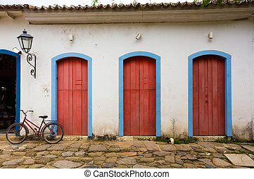 bright colored facade of house at the Brazil