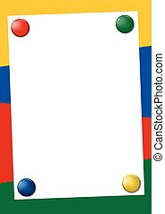 Bright colored frame with pin magnets
