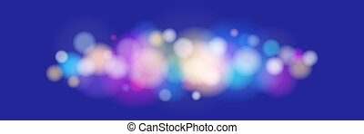 Bright Colored Lights on Blue Background - Soft Bright...