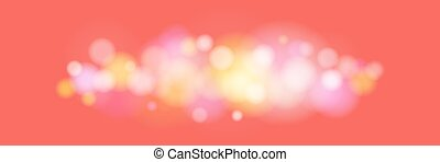 Bright Colored Lights on Coral Color Background - Soft...