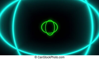 Bright colored neon circles are in the space, abstract 3d render background, computer generated backdrop