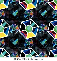 bright colored polygons Abstract seamless geometrical pattern