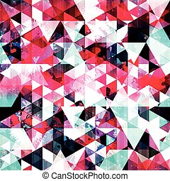 bright colored polygons geometric abstract seamless pattern grunge texture