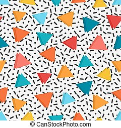 bright colored triangles in white background with black lines and dots
