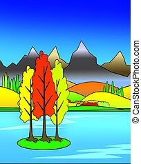 Bright Colorful Autumn Illustration