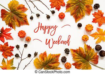 Bright Colorful Autumn Leaf Decoration, English Text Happy ...
