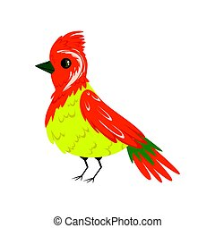 Bright colorful bird with a tuft vector Illustration