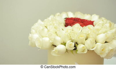 Rose flower backgrounds, bright colorful bouquet of red and white roses