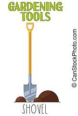 Bright colorful cartoon shovel.