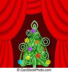 Bright colorful Christmas tree on a theatrical stage