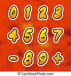 Bright colorful comics numbers with halftone pattern, vintage retro letters