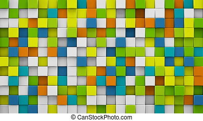 Bright colorful cubes 3D render loopable animation - Bright...