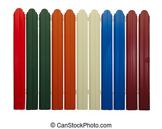 Bright colorful fence isolated on white background