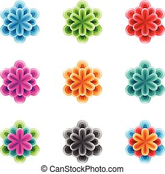 Bright Colorful Flowers with 3 Layers Vector Illustration