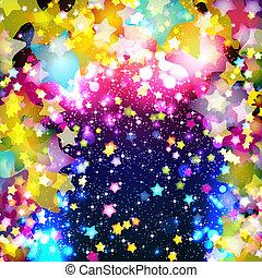 Bright colorful flying stars on a fantastic design ...
