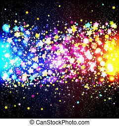 Bright colorful flying stars on a fantastic design...