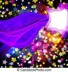 Bright colorful flying stars on a fantastic design background. Vector Illustration.