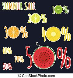 Bright colorful fruits stickers for summer sale