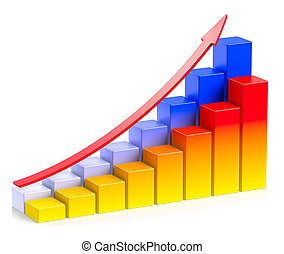Bright colorful growing bar chart with arrow in two rows