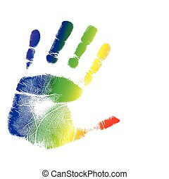 bright colorful handprint