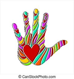 Bright colorful handprint with love symbol. Simple element vector illustration on white background.