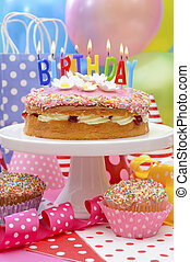 Happy Birthday Party Table - Bright colorful Happy Birthday...