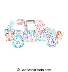Bright colorful immigration stamps arranged in car shape isolated on white