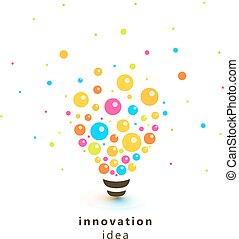 Bright colorful lightbulb, abstract Innovation idea logo....