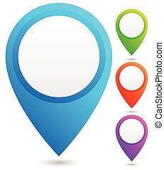 Bright, colorful map marker, map pin vector in 4 colors.