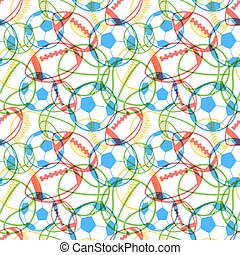 Bright colorful multiple sports balls icons on white background, seamless pattern