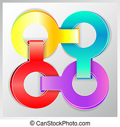 bright colorful origami options paper banner, eps10