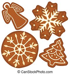 Bright colorful poster with christmas ginger bread tree, angel, snowflake.