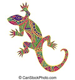 Bright colorful psychedelic lizard with many ornaments, isolated on white background.