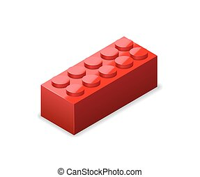 Bright colorful red lego brick in isometric view on white