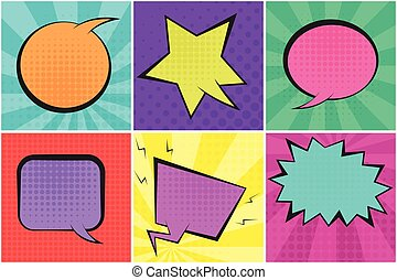 Bright colorful retro comic speech bubbles