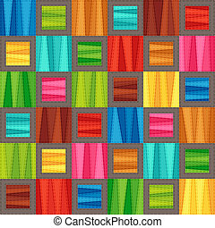 Bright Colorful Seamless Pattern of Blue, Brown, Green, Red, Pink, Turquoise, Yellow Simple Geometric Tetragonal Shapes.