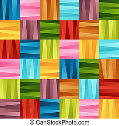 Bright Colorful Seamless Pattern of Striped Gradient Blue, Brown, Green, Red, Pink, Violet, Yellow Squares.