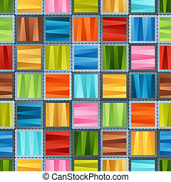 Bright Colorful Seamless Pattern of Striped Gradient Blue, Brown, Green, Red, Pink, Violet, Yellow Squares for Fabric, Textile, Tissue, Pack Paper, Wrapping Paper.