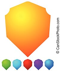 Bright, colorful shield shapes isolated on white in 6 colors.