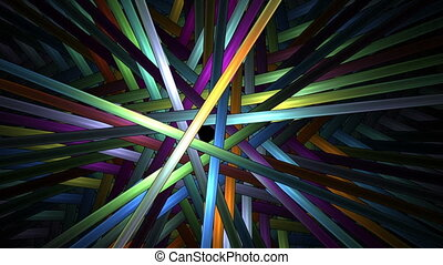 Bright colorful sticks in rotational motion over black...