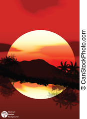 Bright colorful sunset  vector