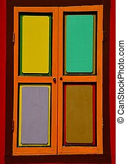 Bright colorful window shutters