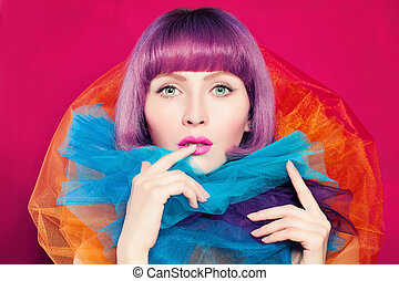 Bright Coloring Concept. Beautiful Woman with Coloring Hair.