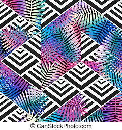 bright colors exotic leaves on geometric background. patchwork seamless pattern