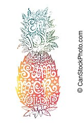Bright colors hand drawn watercolor pineapple silhouette with grunge lettering inside