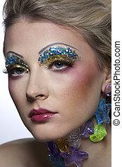 Bright colors Stylish adult woman portrait